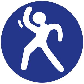 """vignette ronde du """"dancing-sport"""" représentant un logo de bonhomme dansant blanc sur fond bleu, à cliquer sur le site de cécile briand"""