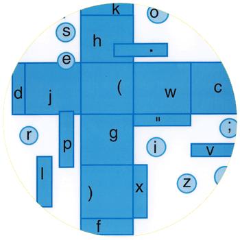 vignette ronde représentant le scriptographe bleu en partie : un cube déplié à plat, bleu, entouré de petits ronds et avec toutes les lettres de l'alphabet disséminées partout, à cliquer sur le site de cécile briand