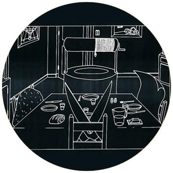 """vignette ronde représentant le dessin blanc sur noir d'une scène de repas très spéciale qui fait partie du projet de """"lettres à Julien, François et Martin"""", à cliquer sur le site de cécile briand"""