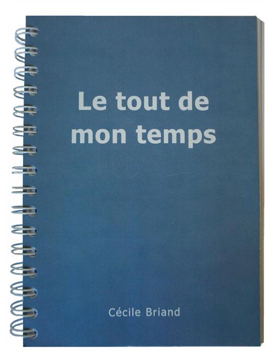 """photographie du manuscrit """"le tout de mon temps"""" dans sa belle couleur bleue-grise, couleur des toits de Paris sur le site de cécile briand"""