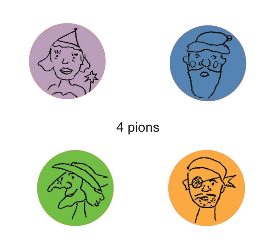 """les 4 pions du jeu """"le dernier sera mangé"""""""